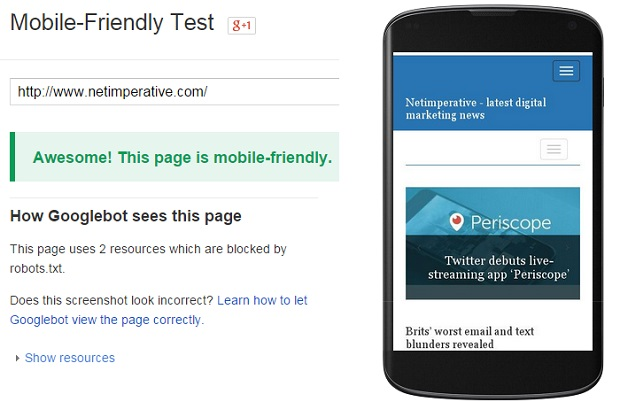 Can your site pass Google's 'mobile friendly' test?