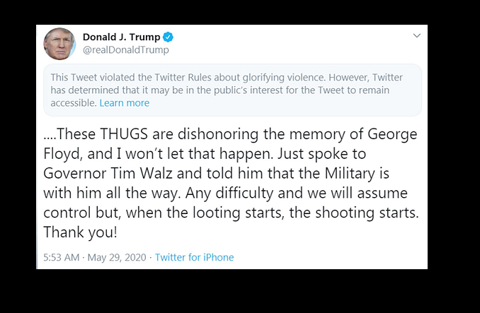 Twitter hides Trump tweet for 'glorifying violence' as social media row escalates