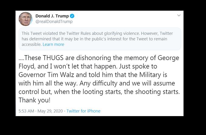 Twitter hides Trump tweet for 'glorifying violence' as social media row escalates