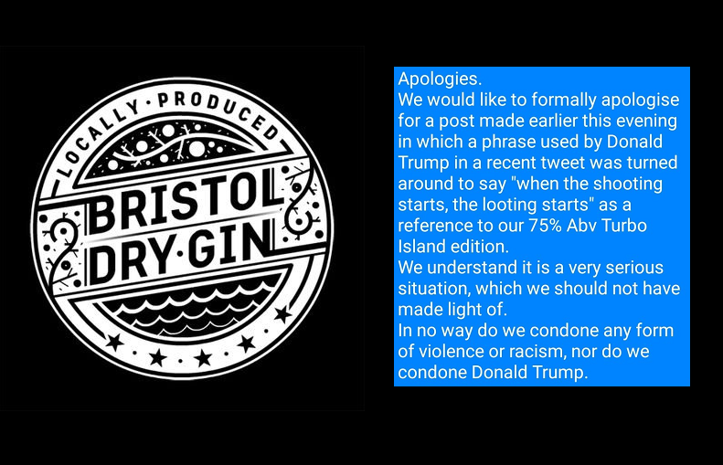 Twitter fail: Gin firm apologises for 'flammable' tweet about US riots