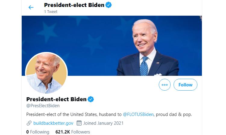 Biden to restart @POTUS Twitter account (with zero followers)