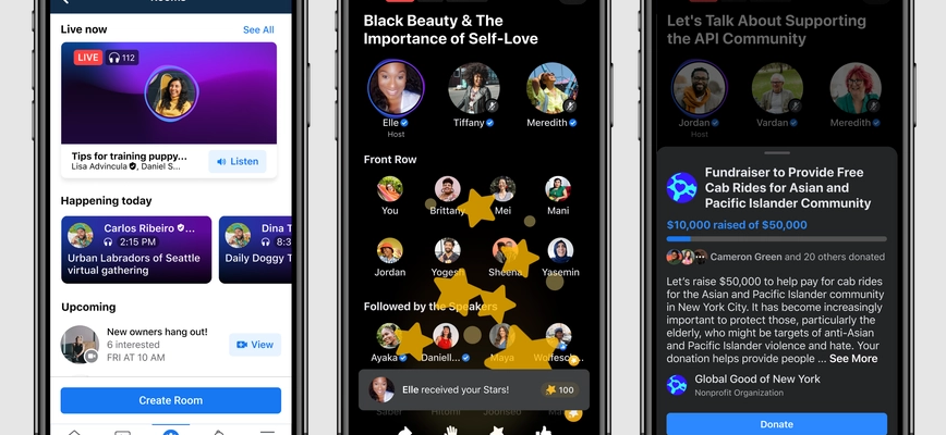 Facebook takes on Clubhouse with live audio chat rooms and 'Soundbites'